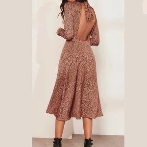 FREE PEOPLE Loveless Leopard Print Open Back Dress
